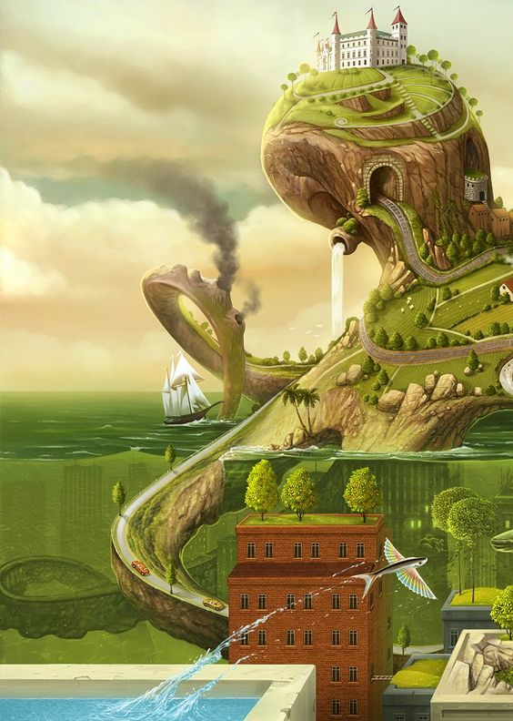 This is Jacek Yerka, one of my favourite artists. His stuff would be great to reference for level design.