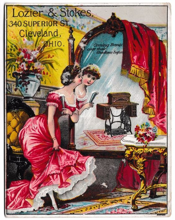 Lozier & Stokes Sewing Machine New Home Peffer Erie, PA Advertising Card Chromo