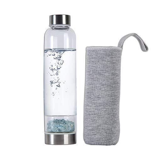 Amoystone Aquamarine Crystal Crushed Stones Water Bottle The Bottom Chamber Is Packed With All Natural Aquamar Water Bottle Bottle Reusable Glass Water Bottles