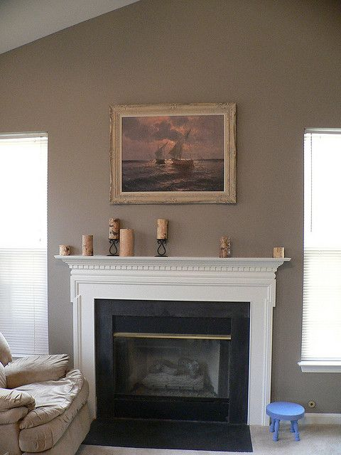 Shenandoah taupe accent wall option doran project pinterest taupe mantles and benjamin moore - Wall taupe ...