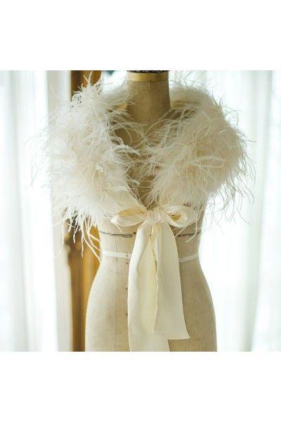 chle tole bolro mariage plumes dautruche demoiselle dhonneur accessoires de la marie soire crmonie bolros de marie pinterest - Etole Beige Mariage