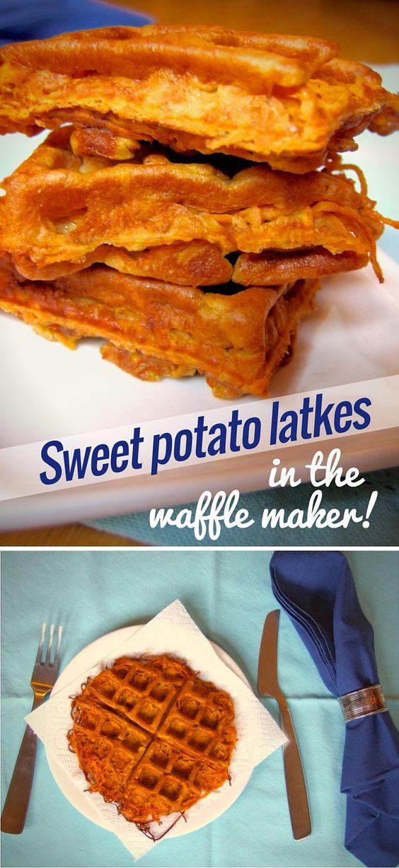 Spiralized sweet potato latkes in the waffle-maker