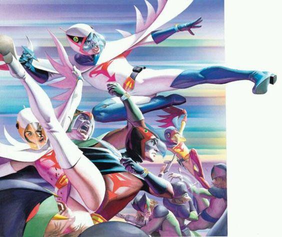 ギャラクターと戦う科学忍者隊ガッチャマンのかっこいい画像。