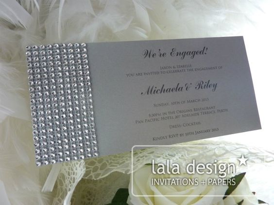 Diamond embellishment engagement invitation