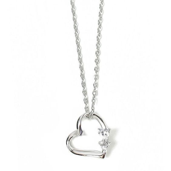 Three Heart Silver Necklace ($64) ❤ liked on Polyvore