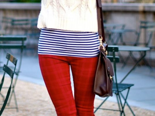 Colored denim is a popular trend for all 2012 seasons! Why not thrown on some red skinnies? Pair with navy stripes and you're not only trendy but festive!