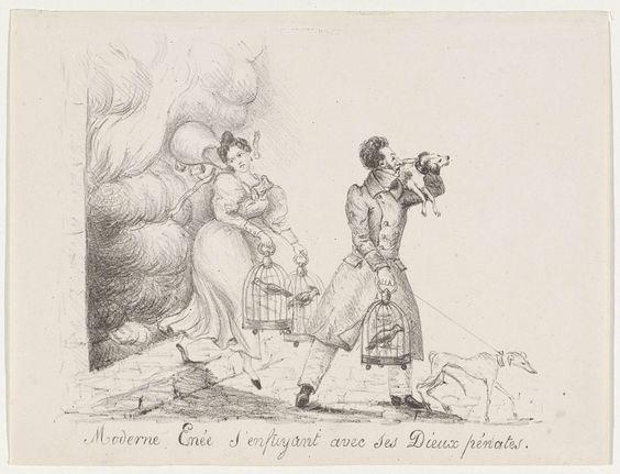 Anonymous | Spotprent op de vlucht van Eugène, prins van Ligne, 1834, Anonymous, 1834 | Spotprent op Eugène François Charles Joseph Lamoral de Ligne, 8ste prins van Ligne, die samen met zijn vrouw Nathalie-Charlotte de Trazegnies hun brandende huis moeten ontvluchten, 1834. Eugène de Ligne was een Orangist en haalde zich de volkswoede van de Belgen op de hals waarbij zijn residentie in Brussel werd geplunderd en in brand gestoken. Hun vlucht en het redden van twee honden en drie vogels in…