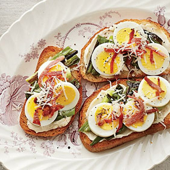 Country-Ham-and-Egg Toasts Recipe Breakfast and Brunch with green onions, olive oil, kosher salt, low-fat mayonnaise, sourdough bread, eggs, country ham, grated parmesan cheese