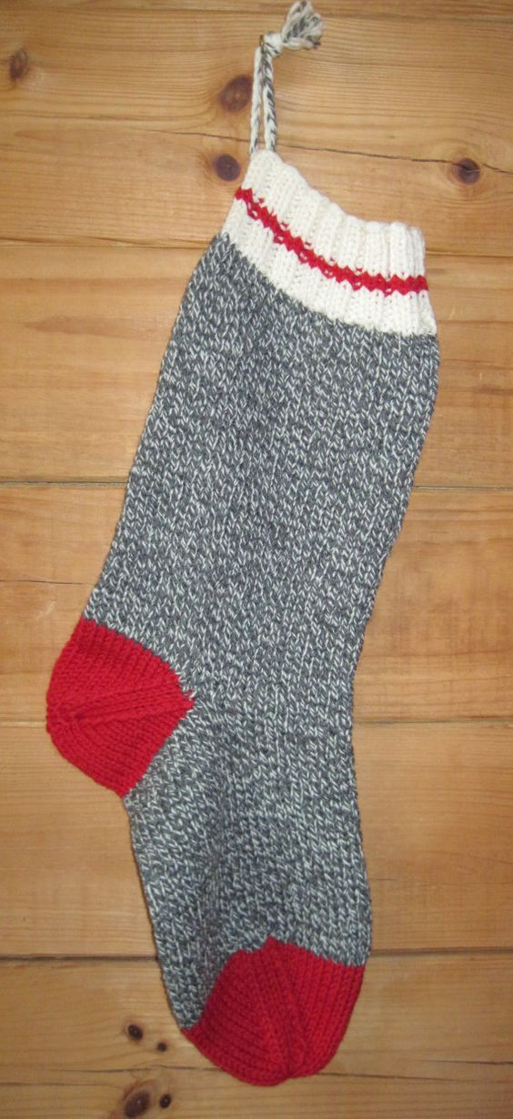 Hand knit christmas stocking old fashioned sock stocking for Fashion christmas stockings