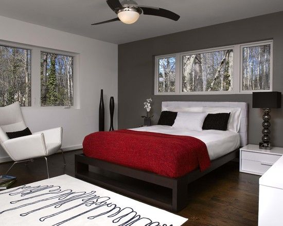 bedroom red and gray bedroom ideas modern chair with white color ideas ceiling fan and lamp decor dark wooden flooring ideas red bedding decor for gray - Grey Red Bedroom Ideas