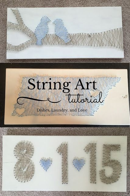 String Art Tutorial-- Step by step how to create string art. Easy inexpensive wedding gifts.