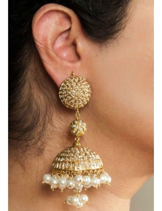 Gold Long Jhumkay For brides