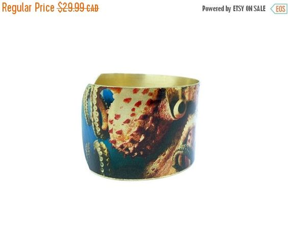 60% OFF - Octopus Jewelry - Nautical Bracelet - Brass Cuff Bracelet - 50 Percent OFF JEWELRY - Photo Cuff - Marine Jewellery - Sku R6-003