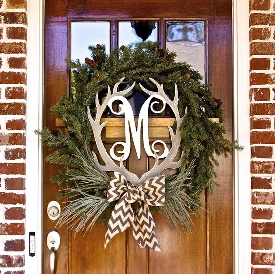 Antlers monograms and wreaths on pinterest for Antler christmas wreath