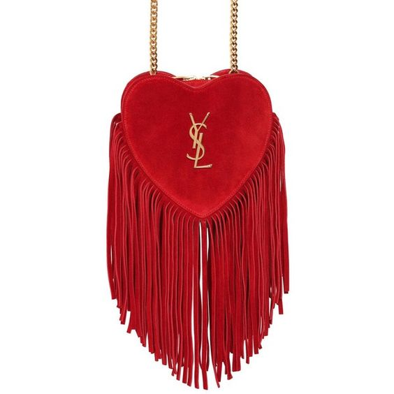 Saint Laurent Women Small Love Fringed Suede Bag (3.580 BRL) ❤ liked on Polyvore featuring bags, handbags, shoulder bags, red, red handbags, yves saint laurent purses, fringe shoulder bag, suede purse and red shoulder bag