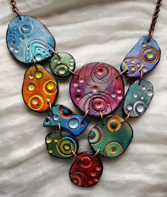 Necklace Multicolored bubbles polymer clay original by ImpastArte: