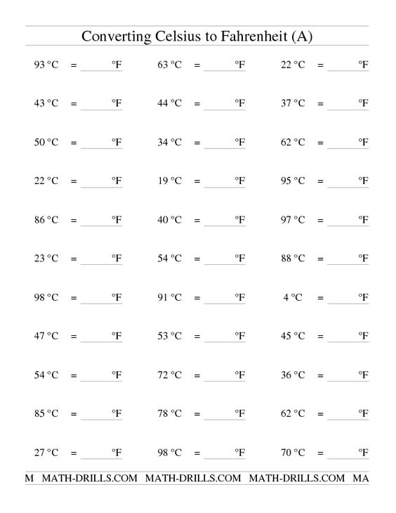 Measurement Worksheet Converting From Celsius to Fahrenheit A – Temperature Conversion Worksheet