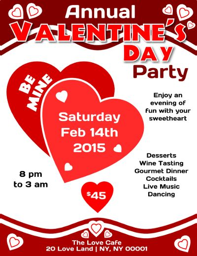 valentines day flyer poster psd template