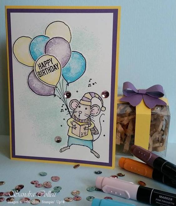 A Birthday Mouse from Merry Mice for #GDP048 http://www.stampinup.net/blog/4000578/entry/sneak_peek_for_gdp048: