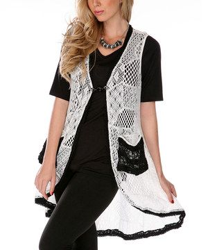 Look at this #zulilyfind! White & Black Crochet Patchwork Vest by Lily #zulilyfinds