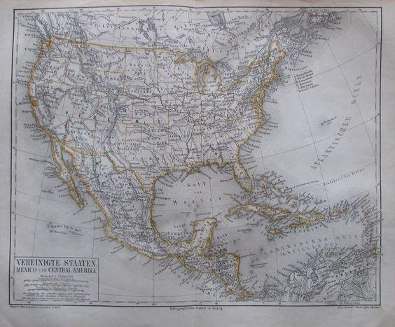VEREINIGTE STAATEN MEXICO CENTRAL-AMERIKA 1878 Alte Landkarte Litho Old Map USA