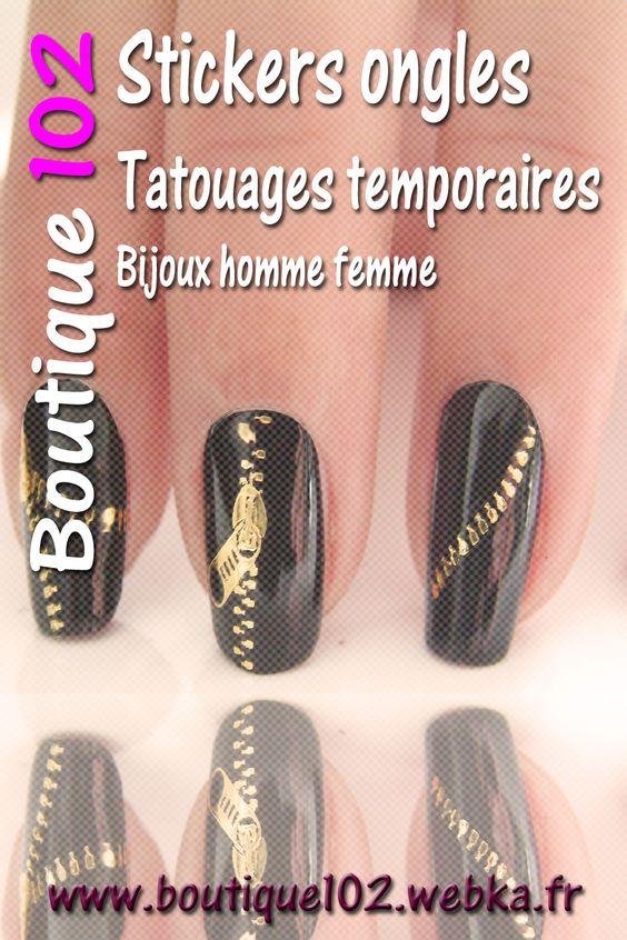 Stickers pour ongles fermeture éclair des décoration pour ongles original. http://www.boutique102.webka.fr