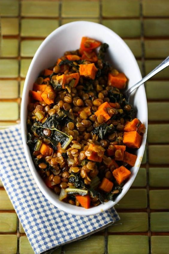 Spicy Lentils with Sweet Potatoes and Kale - Eat, Live, Run