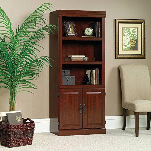 Home Office Living Room Modern Library With Classic Cherry Finish For Luxurious Rich Look And Three Sauder Bookcase Traditional Bookcases Home Office Furniture