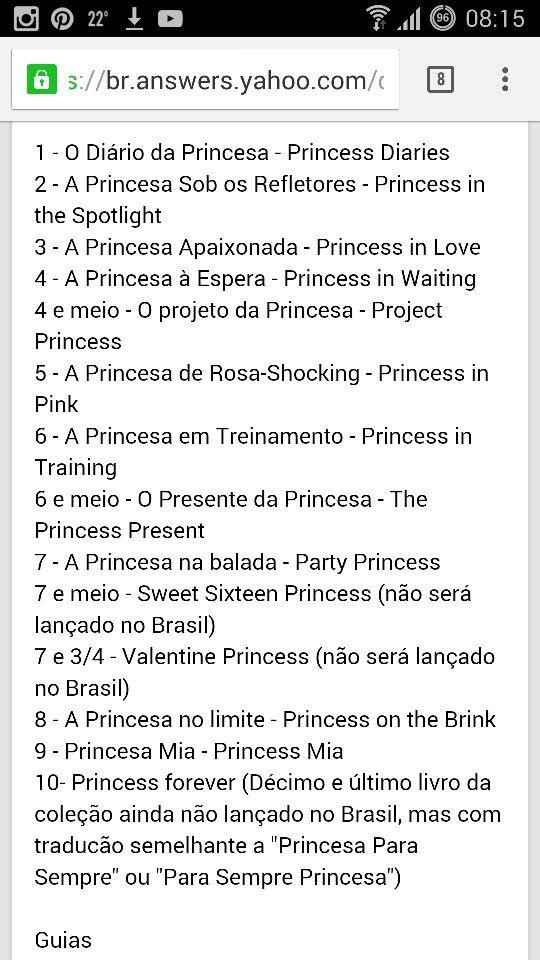 Sequencia de livros de O Diário da Princesa.