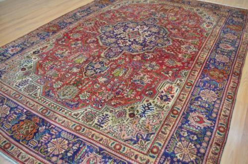 710-x-11-Rare-Geometric-Tabriz-Genuine-S-Antique-Persian-Handmade-Wool-Area-Rug