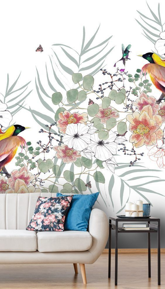 Bird Of Paradise Wall Mural By Kelly Kratzing Wallsauce Uk Paradise Wallpaper Wallpaper Living Room Room Wallpaper