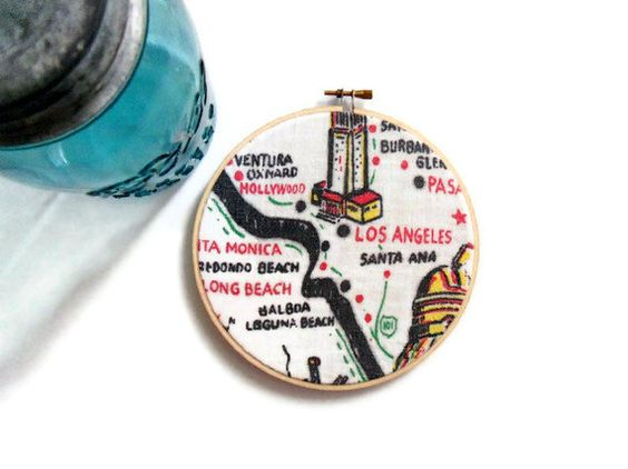 Los Angeles  Embroidery Hoop Wall Hanging  by MontclairMade, $15.00