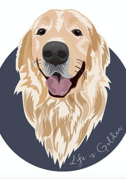 Golden Retriever Wall Art Golden Retriever Print Dog Lover Gift Art Printable Golden Dog In 2020 Golden Retriever Art Dog Line Art Golden Retriever Painting