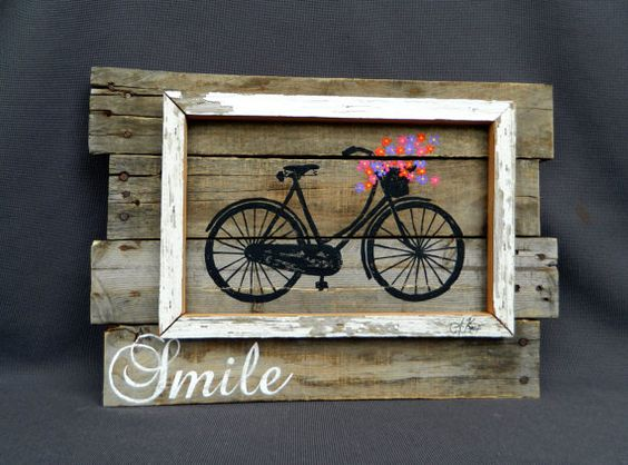 Distressed reclaimed wood pallet art bright hand painted for Pallet shabby chic