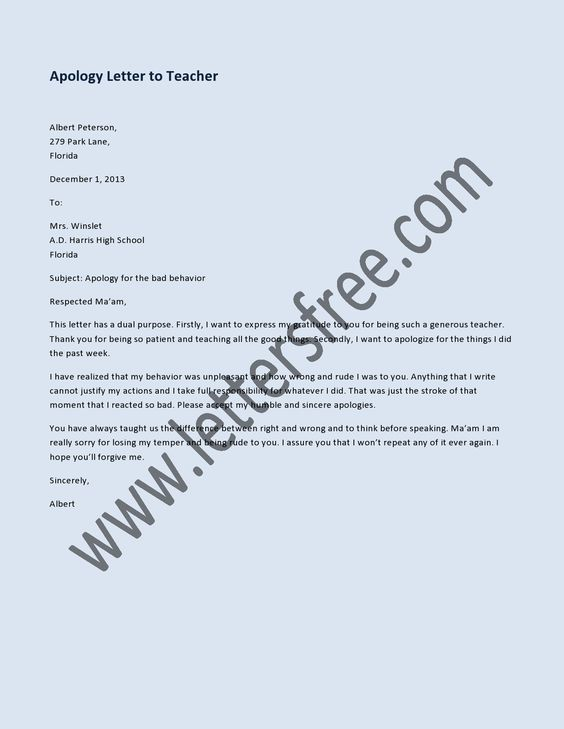 Sample apology letter to send to teachers help express the right – Apology Letter to School