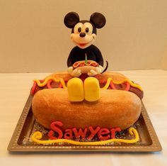 Hot Dog Mickey Smash Cake Hot Dog Mickey Smash Cake Sawyer's hot dog smash cake for his first birthday! With Mickey of course! An all edible hot dog cake, with