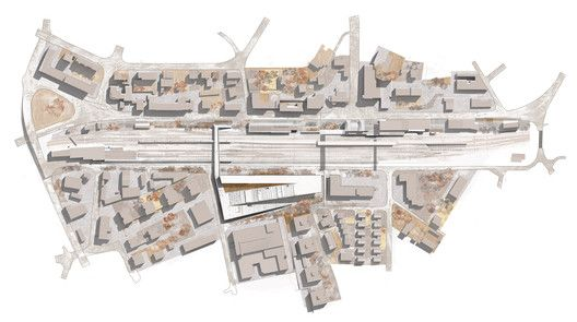 Courtesy of Kengo Kuma Associates - Masterplan over tracks