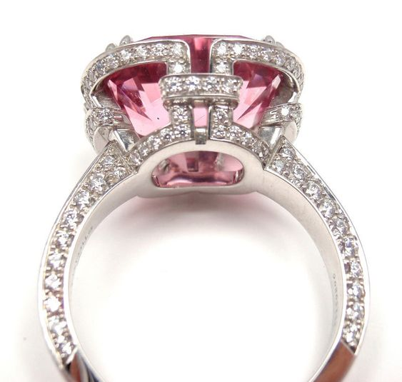 TIFFANY & CO. Diamond Platinum Pink Spinel 'Blue Book' Ring