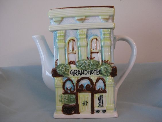 "Front of Grand Hotel. My first ""door"" teapot. No markings."