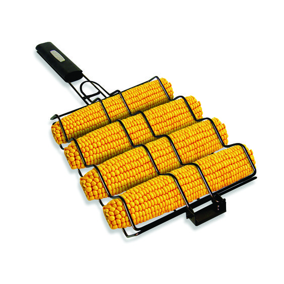 This Non-Stick Corn Basket with a heat resistant handle allows you to turn all four ears of corn in one simple motion, helping to make tasty corn on the cob. #bbq #barbecue