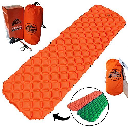 Best Connectable Ultralight Sleeping Pad For Camping Backpacking Hunting Hiking By Rugged Mountain Co Inflatable Air Mattress Compact Sleep Mat Lightwei Backpacking Sleeping Pad Lightweight Sleeping Bag Sleeping Pads