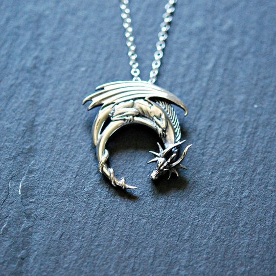Sterling silver dragon necklace - winged dragon on moon pendant - medieval goth intricate - tv symbolic necklace - horned dragon - charmed2