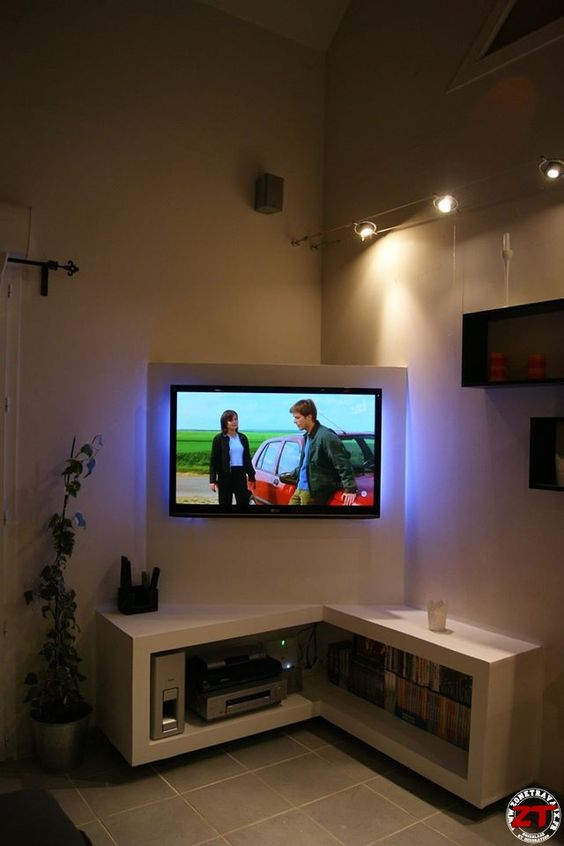 Meuble tv perso placo meuble tv pinterest tvs et photos for Meuble tv cloison
