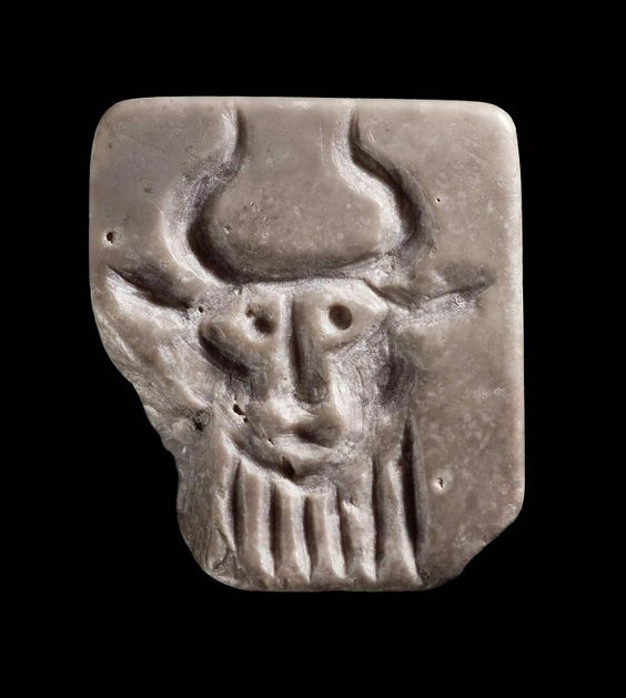 Stamp seal with the head of a bearded bull-man. Sumerian. Early Dynastic Period…