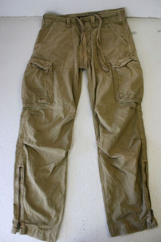 Abercrombie Fitch A-92 Military Faded Green Cargo Pant Men M 33 x 31 Button 2834 #AbercrombieFitch #CargoPants: