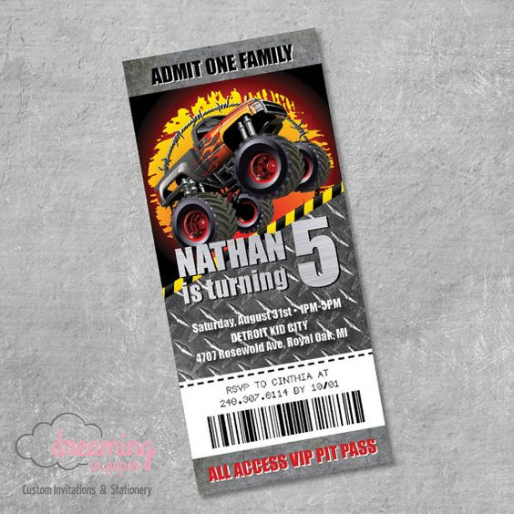 Monster Truck Ticket VIP PASS Birthday by DreamingInPaperEtsy