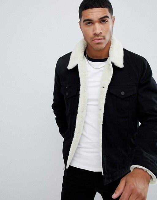 Asos Design Fleece Lined Denim Jacket In Black Black Denim Jacket Men Lined Denim Jacket Borg Lined Denim Jacket