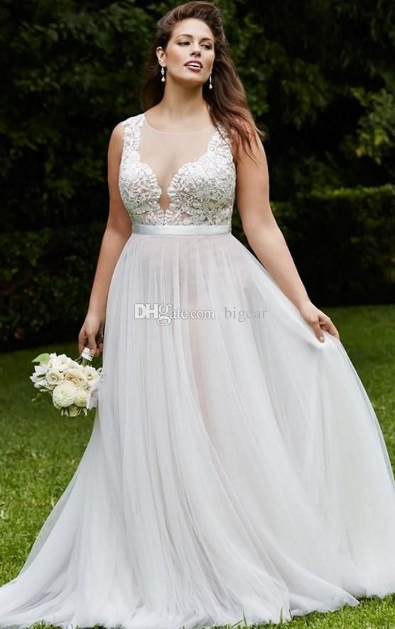 Discount Summer Plus Size Wedding Dress With Illusion Back Wedding Dresses Cheap Online Wed Plus Wedding Dresses Wedding Dress Styles Wedding Dresses Plus Size