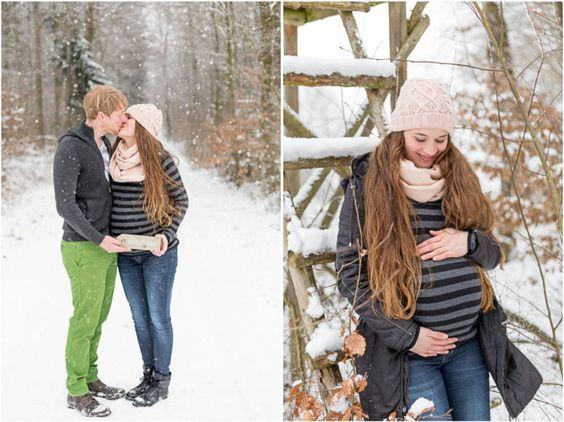 Babybauch-Shooting im Schnee