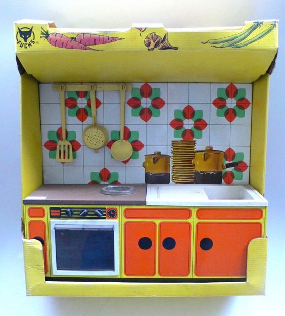 Vintage Toy Kitchen Set With Accessories Tin Metal 1960